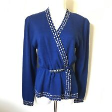 St. John Bright Blue Gold Cardigan Sweater accent belt wool holiday career M/L
