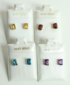 CHOOSE FROM Solid 14K Gold Blue Topaz / Amethyst / Citrin Stud Earrings NEW