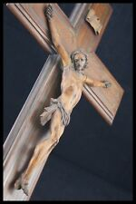 19TH WALNUT WOOD HANDCARVED CRUCIFIX JESUS CHRIST CHRISTI CORPUS CROSS FRANCE