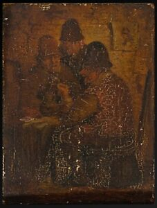 Antique 18th Century Oil Painting On Wood Panel Pub Scene Old 1800s Realism Art