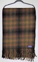 Vintage PENDLETON 100% WOOL STADIUM THROW BLANKET Tartan Plaid Brown Fringe