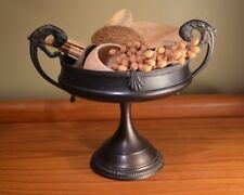 Decorative Metal BOWL brown handles birds centerpiece potpourri dish pedestal