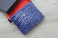 Blue Genuine Crocodile Alligator Leather Skin Wallet Men's Bifold