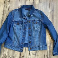 Willi Smith Women's Blue Denim Jean Jacket Jeweled Stretch Women's Large