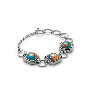 3 Stones 13mm Spiny Oyster & Turquoise Toggle Bracelet 925 Sterling Silver Chain