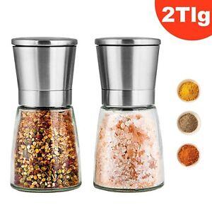 2 x Gewürzmühle Pfeffermühle Salzmühle Glas und Edelstahl mit Keramikmahlwerk