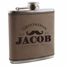 Custom Engraved Leather Flask - Groomsmen, Wedding, Bachelor Party Gift For Him