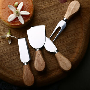 4Pcs Stainless Steel Oak Wood Handle Cheese Butter Blade Fork Set Kitchenware BB