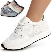 Damenschuhe Plateau Turnschuhe Glitzer Sneaker Runners Sportschuhe Blogger Style