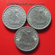 LOT OF (3) PORTUGAL 2 1/2 ESCUDOS COINS: 1979+1980+1983 SHIP COPPER-NICKEL 20mm