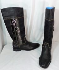 Coach Black tall fashion pull on Riding logo Boots Leather Canvas 9.5