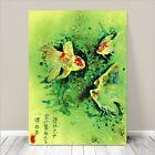 "Beautiful Vintage Asian Art ~ CANVAS PRINT 16x12"" ~ Goldfish Green Watercolor"