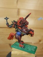 CLASSIC METAL WARHAMMER CHAOS CHAMPION MOUNTED ON DARK UNICORN PAINTED (238)