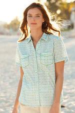 Womens ORVIS Short Sleeved Contrast Stitch Plaid Shirt Medium 10-12 Floral M
