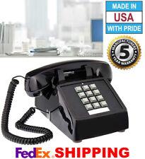 RETRO BLACK PUSH BUTTON DESK TELEPHONE VINTAGE STYLE CORDED PHONE NEW