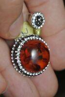 Turkish Ottoman 4 Ct Sparkle Amber 925 Sterling Silver Modern Druzy Pendant