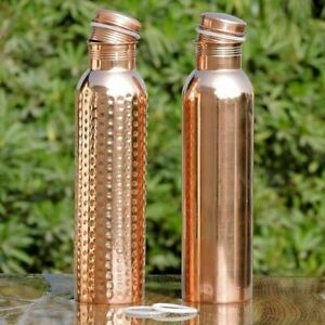 2 SET Pure Copper Bottle 950 ML Water Storage Ayurveda Bottle Health Benefit New