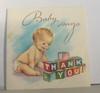 Vintage Greeting Card 1949 Rust Craft Boston Massachusetts Baby Says Thank You