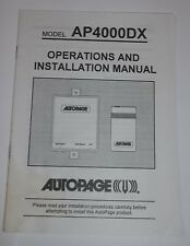 AUTOPAGE Vehicle Security Notification Operation & Installation Manual AP4000DX