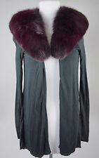 Womens Alice & Olivia Black Fox Fur Collar Cardigan Sweater Top Size XS