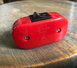 Inline Cord Switch - Red Switch (Black Rocker) - Feed Through Switch on/off lamp