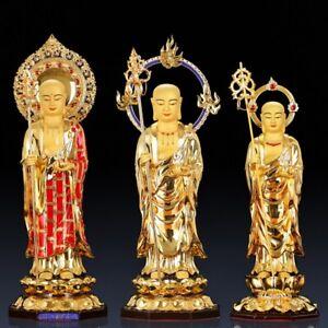 "22"" Buddhism Temple Ksitigarbha Bodhisattva Statue Pure copper 24K Gilding #794"