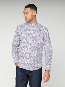 Ben Sherman Floral Long Sleeve Mens Shirt, White