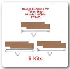 """6 Heating Elements 3mm + 6 Teflon Sheet For Impulse Sealer 16"""" / 400mm PFS400"""