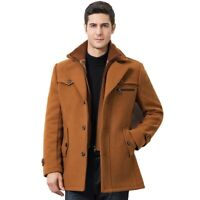 Mens Fashion Slim Fit Trench Coat Warm Cotton Padded Jacket Lapel Outwear Hot