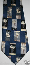 NEW 1980s True Vintage Necktie 100% Silk Jacquard French Floral Blue/White Arty