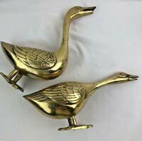 Pr VINTAGE  BRASS METAL GEESE BIRDS SCULPTURE FIGURINE DECOR LARGE PAIR