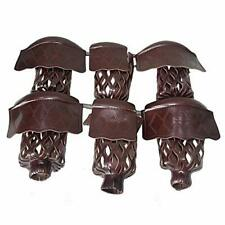 New listing Boshen Pack of 6 PU Leather Brown Pool Table Pockets Billiard Table Web Shiel...