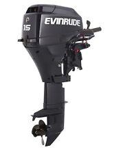 """New Evinrude 15HP 4 Stroke Outboard Motor Tiller 15"""" Shaft Engine"""