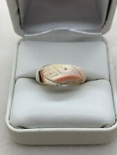 Hand Carved Beautiful Natural Shell Ring Size 7