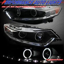 Set of Black Headlights w/ Dual Halo Rims & Led Strip for 2009-2012 Acura Tsx (Fits: Acura)