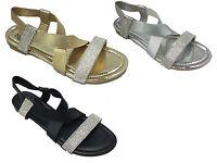 Ladies Diamante Slip On Flat Slippers Sandals Elastic Back UK Size 3 4 5 6 7 8