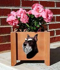 Schnauzer Planter Flower Pot Standard Black Silver