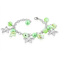 Light Green Pearl Glass Bead Flower Star Charm Bracelet nickel free jewellery UK