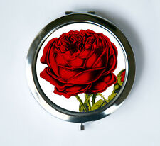 Red Rose Compact Mirror Pocket Mirror flowers love pretty botanical