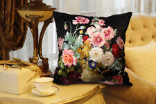 Elegant Decorative Velvet Floral Pillow Cover Double Sides Flower Pillow cases