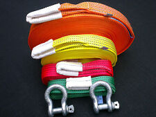 4x4 RECOVERY WINCH TOWING STRAP KIT 5TON 20M/10M/5M/2M + 2 X 3,25 TON SHACKLES