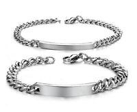Coppia bracciali acciaio inox uomo donna argento classico targa moda braccialett