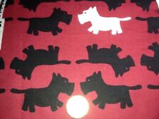 SCOTTIE DOG RED & BLACK FLANNEL FABRIC 100% COTTON SEWING SOLD BY THE YARD BTY