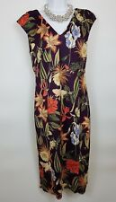 M&S Sleeveless Floral Purple Wedding Occasion Long Stretchy Bodycon Dress UK 12