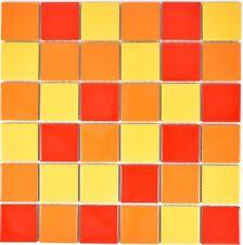 Mosaik Fliese Keramik gelb orange rot quadratisch gelb orange glänzend WB14-0789