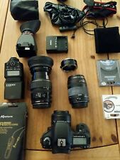 Canon 7d bundle: 22 items 1 body, 3 lens, 1 flash, 2 remote, 1charger, 3 CF card