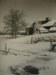 "N.E. Winter Barn & Silo Original c.1940+ Vintage B&W Photograph unsigned 11""X14"""