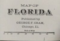 "Vintage 1903 FLORIDA Map 14""x22"" ~ Old Antique Original ST AUGUSTINE TALLAHASSEE"