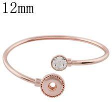 Rose Gold Rhinestone End 12mm Mini Snap Charm Bangle Bracelet For Ginger Snaps
