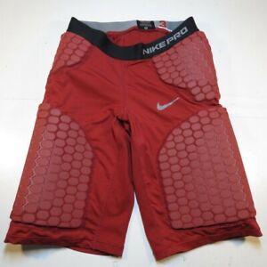 NIKE PRO COMBAT 3 DRI FIT PADDED 5 PAD FOOTBALL SHORTS Sz Mens S Red